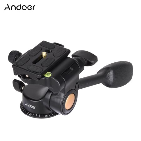 Andoer Q08 Video Tripod Ball Head 3-way Fluid Head Rocker Arm with Quick Release Plate for DSLR Camera Tripod