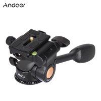 Andoer Q08 Video Tripod Ball Head 3-way Fluid Head Rocker Arm with Quick Release Plate for DSLR Camera Tripod Monopod