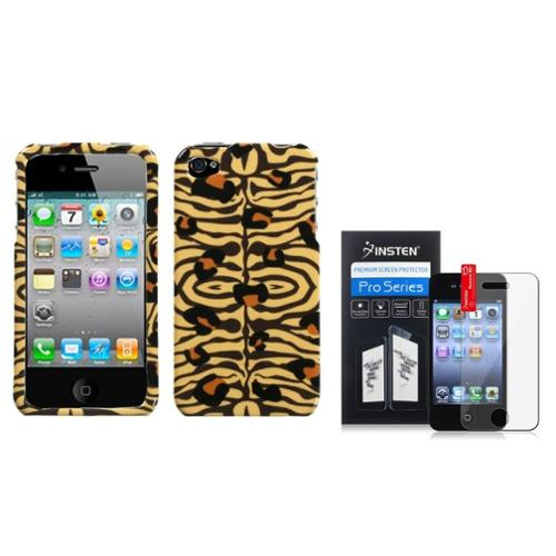 Insten Wild Leopard Pattern Snap-On Hard Case Skin For Apple iPhone 4/4s+LCD Clear Screen Protector