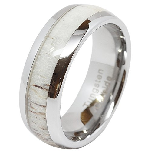 Dome Shaped Bands: 8mm Mens & Womens Deer Antler Inlaid