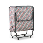 """Linon Torino Folding Rollaway Guest Bed with 5"""" Innerspring Mattress and Memory Foam, Cot"""