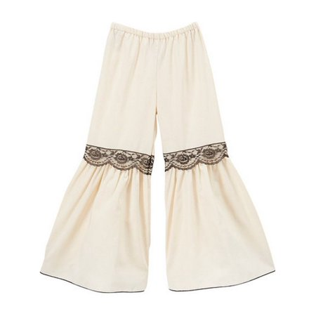 Girls Ivory Black Lace Trim Flared Cotton Boho Chic Bell Pants