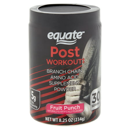 Equate Post Workout Fruit Punch Branch Chain Amino Acid Supplement Powder, 8.25