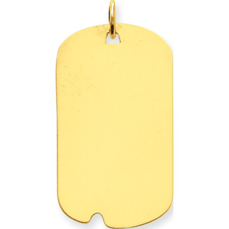 - Leslies Fine Jewelry Designer 14k Yellow Gold Plain .013 Gauge Engravable Dog Tag w/Notch Disc (17x34mm) Pendant Gift