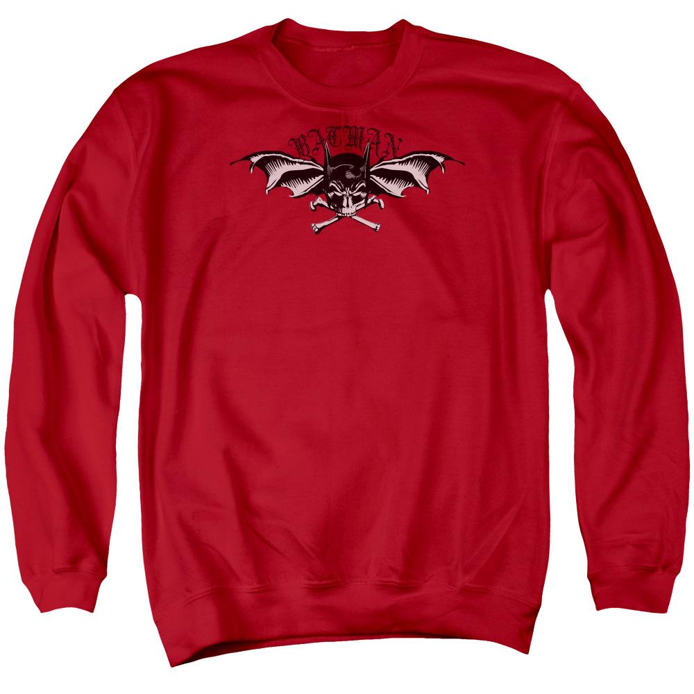 BATMAN/WINGS OF WRATH - ADULT CREWNECK SWEATSHIRT - RED - XL