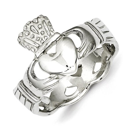 925 Sterling Silver Polished & Textured Claddagh Band Ring Size 7