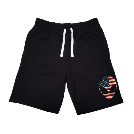 Men's USA Flag Alien Head KT B1215 Black Fleece Jogger Sweatpant Gym Shorts Small Black - Alien Pants