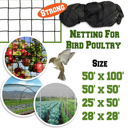 Sunrise 50'x50' Heavy Duty Bird Netting Fruit Tree Protective Net Pens Aviary Poultry Mesh -