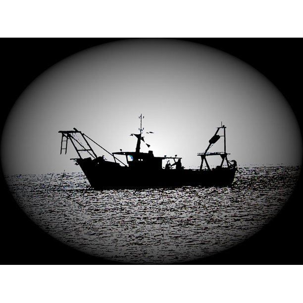 Fishing Fishing Boat Backlight Shadow Silhouette 20 Inch By 30 Inch Laminated Poster With Bright Colors And Vivid Imagery Fits Perfectly In Many Attractive Frames Walmart Com Walmart Com