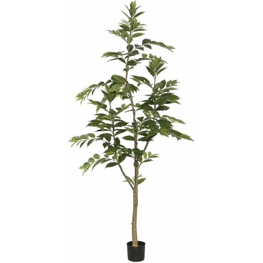 Vickerman 7' Potted Artificial Green Nandina Tree Features 356 Leaves