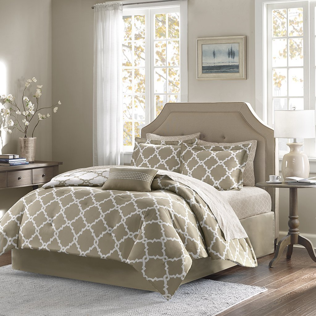Empire Home Modern 11 Piece Comforter Set Bed In A Bag (Taupe, California