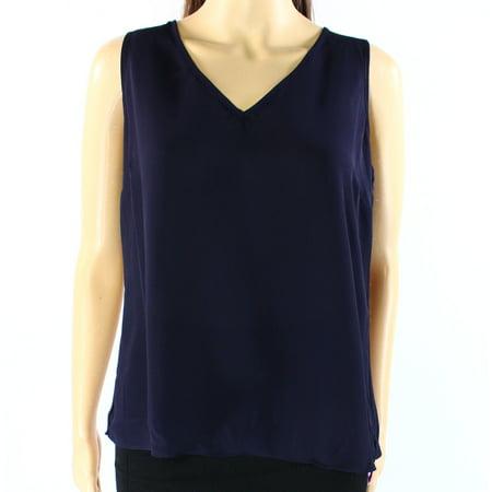 INC NEW Blue Womens Size 4 Sunset-Horizen Tulip V-Neck Pull-Over Blouse
