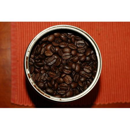 Canvas Print Macro Coffee Bean Beans Dark Black Roasted Coffee Stretched Canvas 10 x 14 (Coffee Bean Picture)