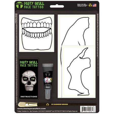 Glow in the Dark Skeleton Party Skull Face Tattoo Costume Accessory - Glow In Dark Tattoo