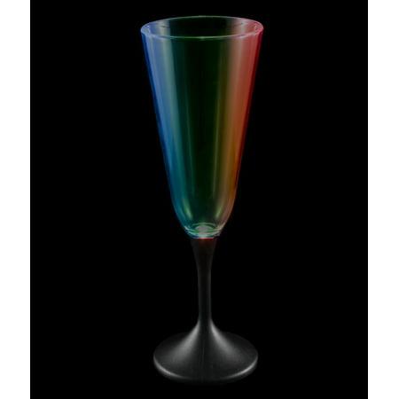 (LED Champagne Glass Black Stem - 7.5 oz.)
