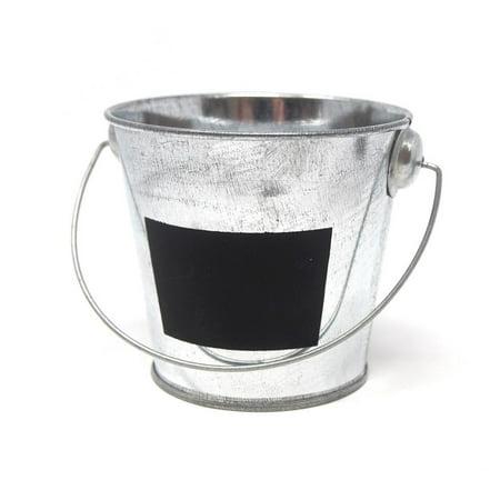 Galvanized Metal Bucket with Chalkboard Label, 3-Inch](Metal Bucket With Lid)