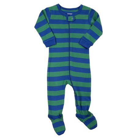 Stripe Sleeper (Leveret Striped Footed Pajama Sleeper 100% Cotton (3-6 Months, Blue & Green))