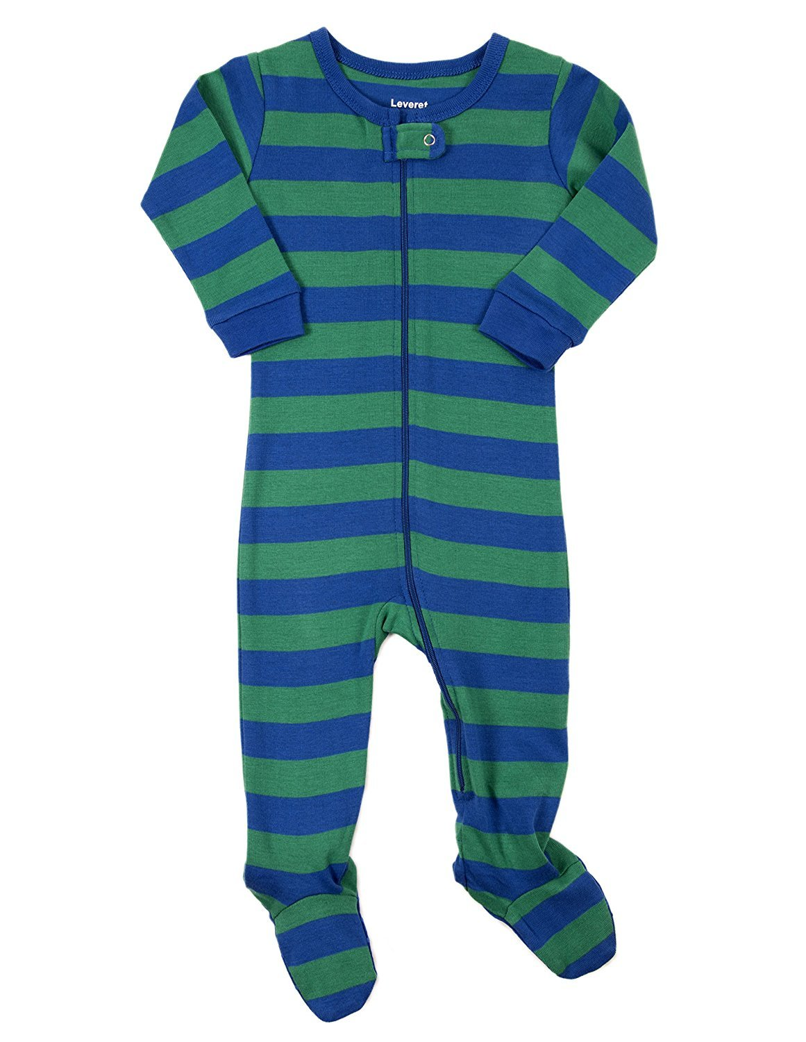 Leveret Striped Footed Pajama Sleeper 100% Cotton (3-6 Months, Blue & Green)