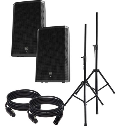 EV Electro-Voice ZLX-15P Pair of Powered Speakers with Stands and Covers