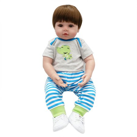 "24"" Beautiful Full Simulation Silicone Baby Girl Reborn Baby Doll in Frog Dress"