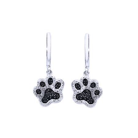 - Black & White Natural Diamond Paw Print Dangle Earrings In 14K White Gold Over Sterling Silver (1/6 Ct)