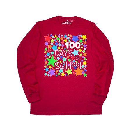 100 Days of School Colorful Stars Long Sleeve T-Shirt