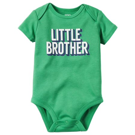 Little Brother Green Car - Carters Baby Clothing Outfit Boys Little Brother Collectible Bodysuit Green
