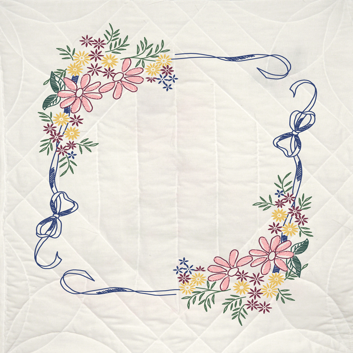 Stamped Quilt Blocks 18 Inch X 18 Inch 6/Pkg-Ribbon & Flowers
