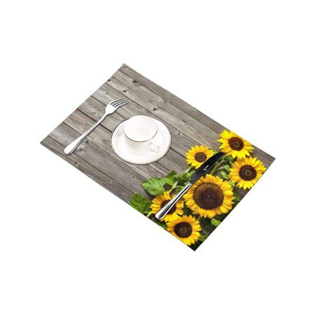YUSDECOR Autumn Sunflowers Wood Pattern Placemats Table Mats for Dining Room Kitchen Table Decoration 12x18 inch,Set of 6 - image 3 of 4