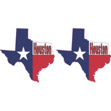 [2x] 2in x 2in Die Cut Houston Texas Stickers Vinyl Flag Car Cup Decals