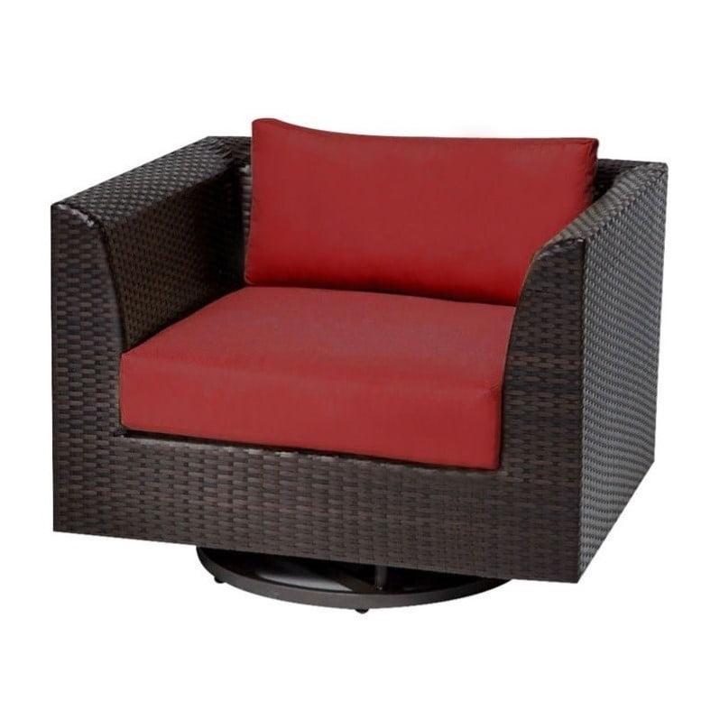 Bowery Hill Outdoor Wicker Swivel Chair in Terracotta