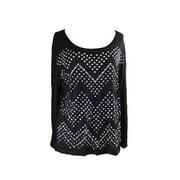 Inc International Concepts Black Studded Long-Sleeve Top S