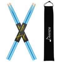 Donner 2 Pair Blue Drum Sticks 5A Classic Maple Wood with Carrying Bag