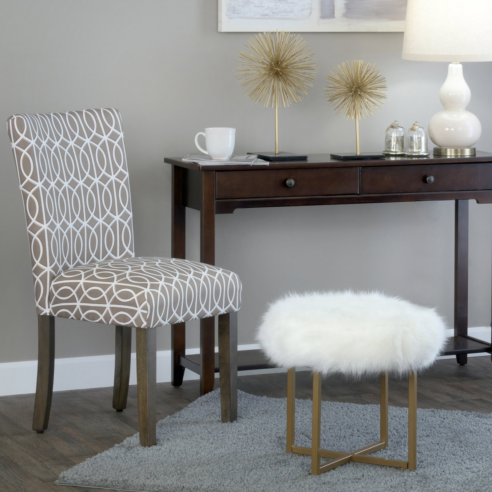 details about homepop faux fur round stool decorative living room accent  chair white