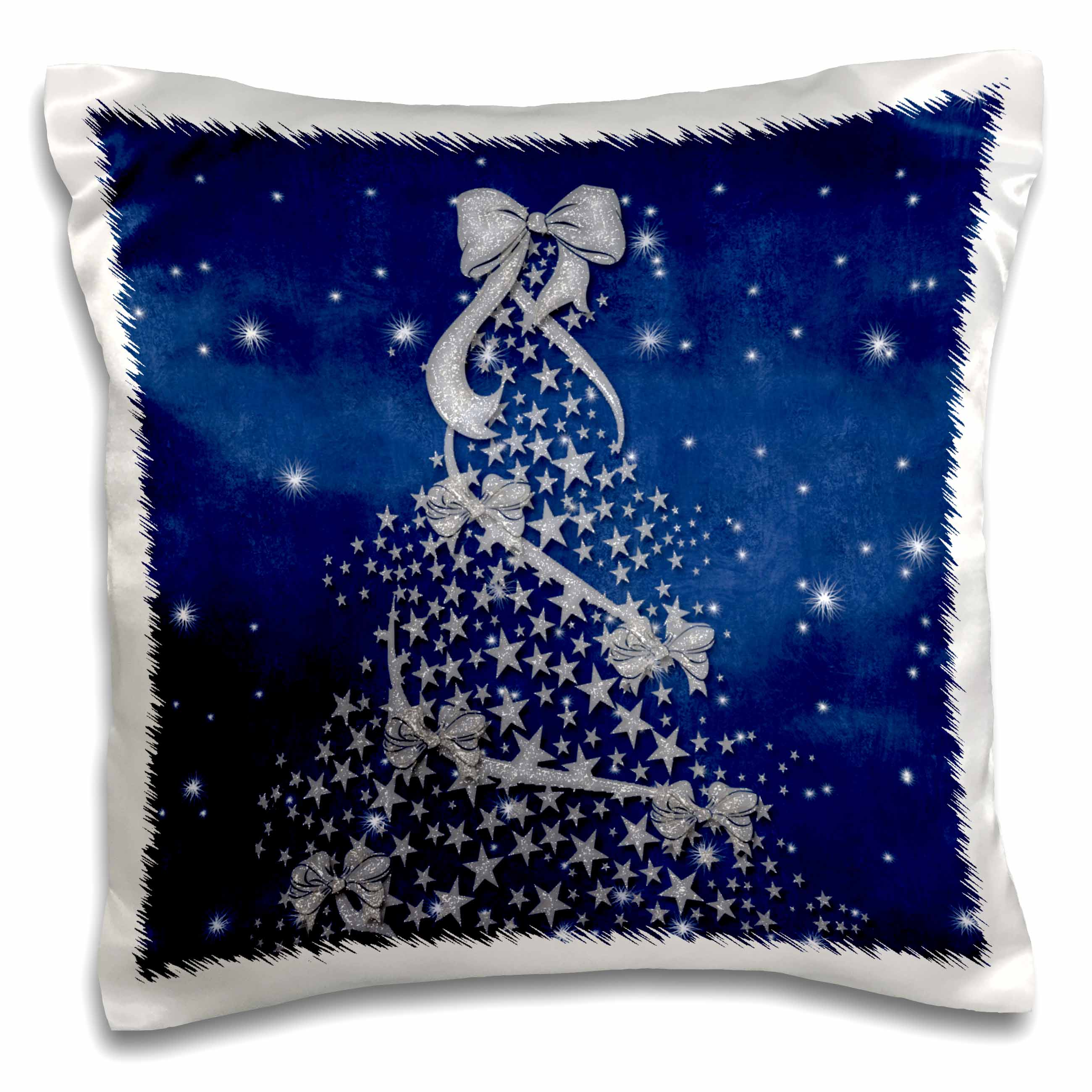 3dRose Blue and Silver Christmas Tree with Snow, Pillow Case, 16 by 16-inch