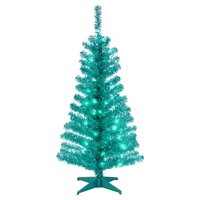National Tree 4' Turquoise Tinsel Tree with Plastic Stand and 70 Clear Lights