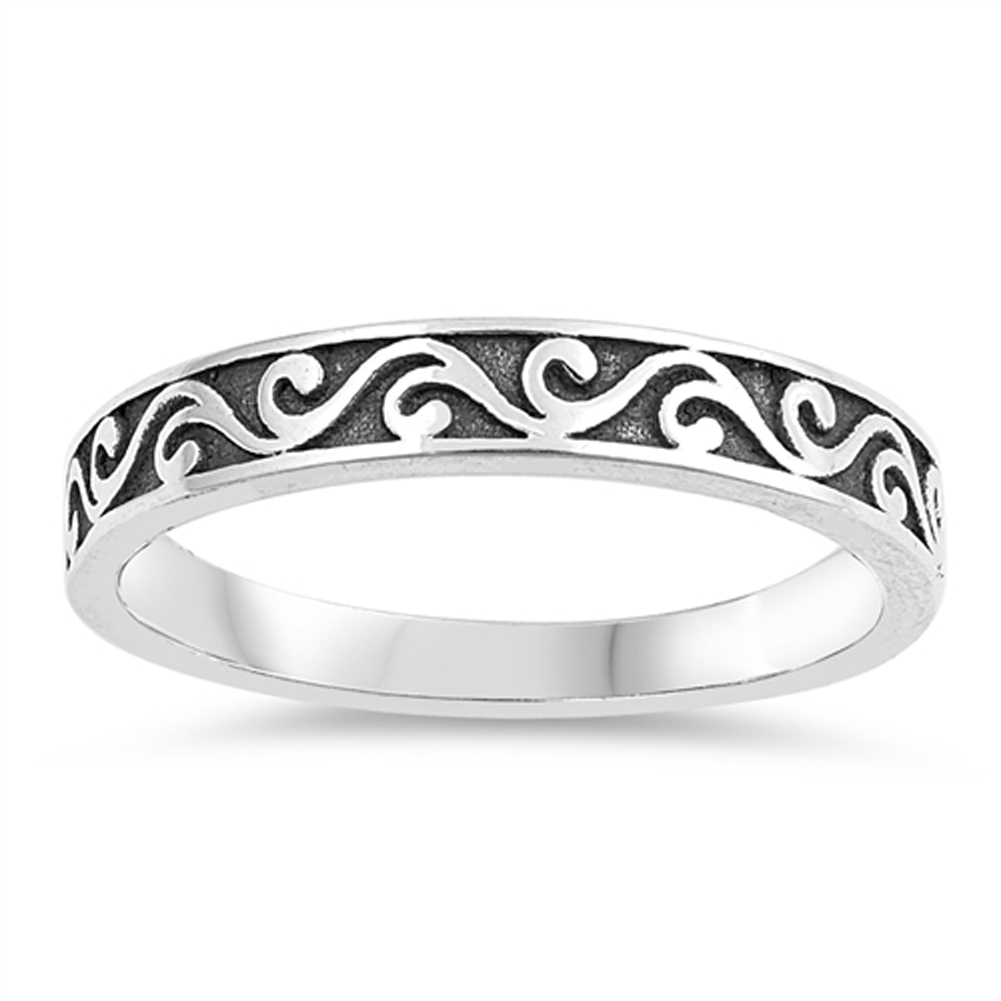 Swirl Eternity Stackable Thumb Ring ( Sizes 3 4 5 6 7 8 9 10 ) New .925 Sterling Silver Band Rings by Sac Silver (Size 8)