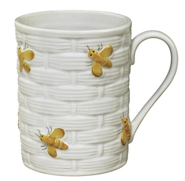 Yellow and White Honeybees on Beehive Embossed Coffee Latte Mug Andrea By Sadek