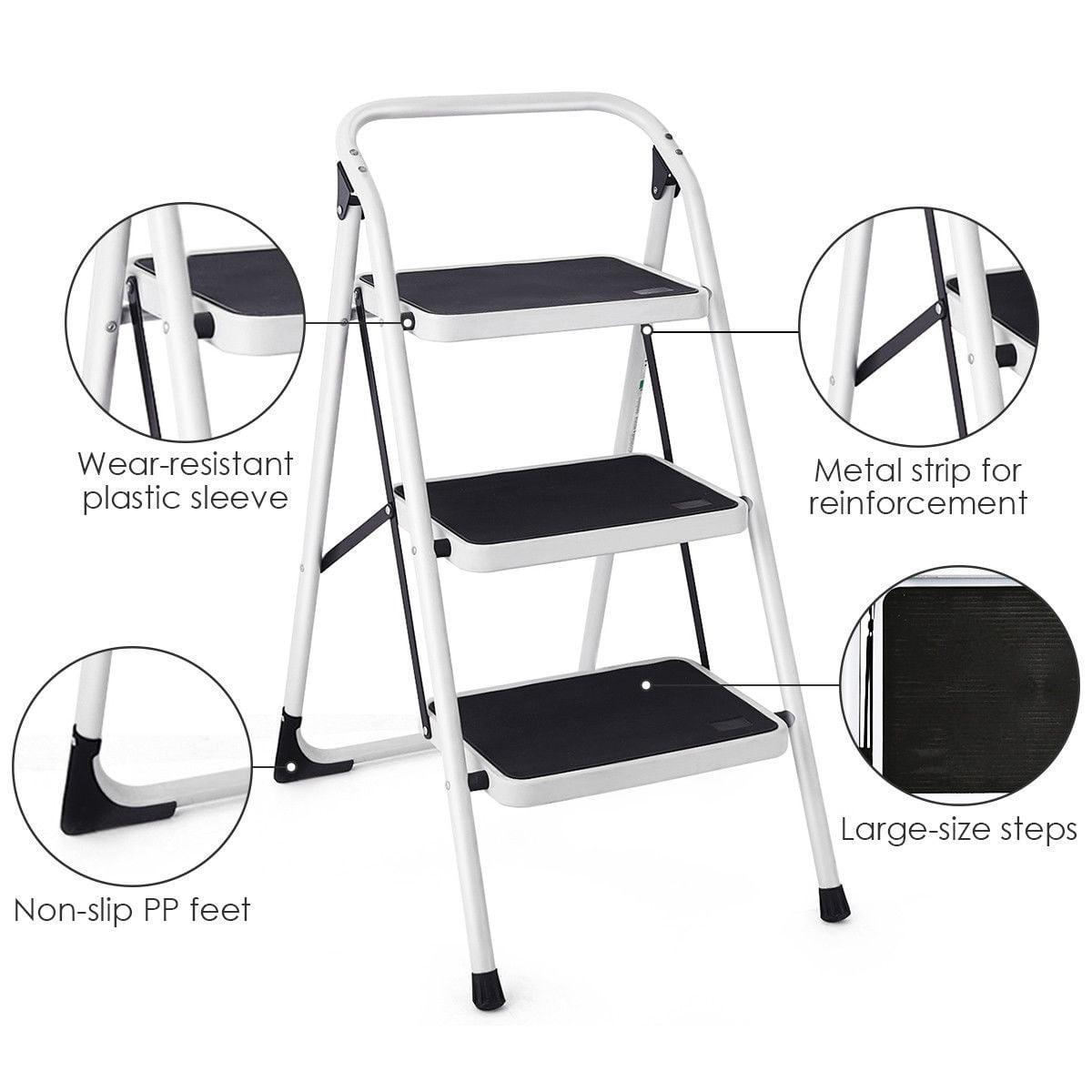 c4d5b3e247a8e 3 Step Lightweight Ladder HD Platform Foldable Stool 330 LB Cap ...