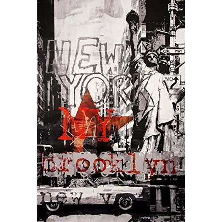 New York City Abstract Collage  Grey 36x24 Art Print Poster Stature of Liberty Brooklyn Thunderbird