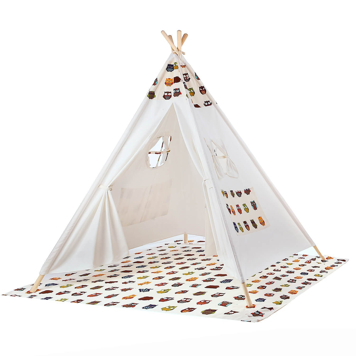BATTOP Kids Teepee Tent Cotton Canvas Two Window Classic ...