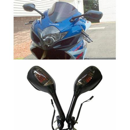 Black Suzuki GSXR GSX-R 600 750 1000 Integrated Turn Signal Mirrors 2006-2017