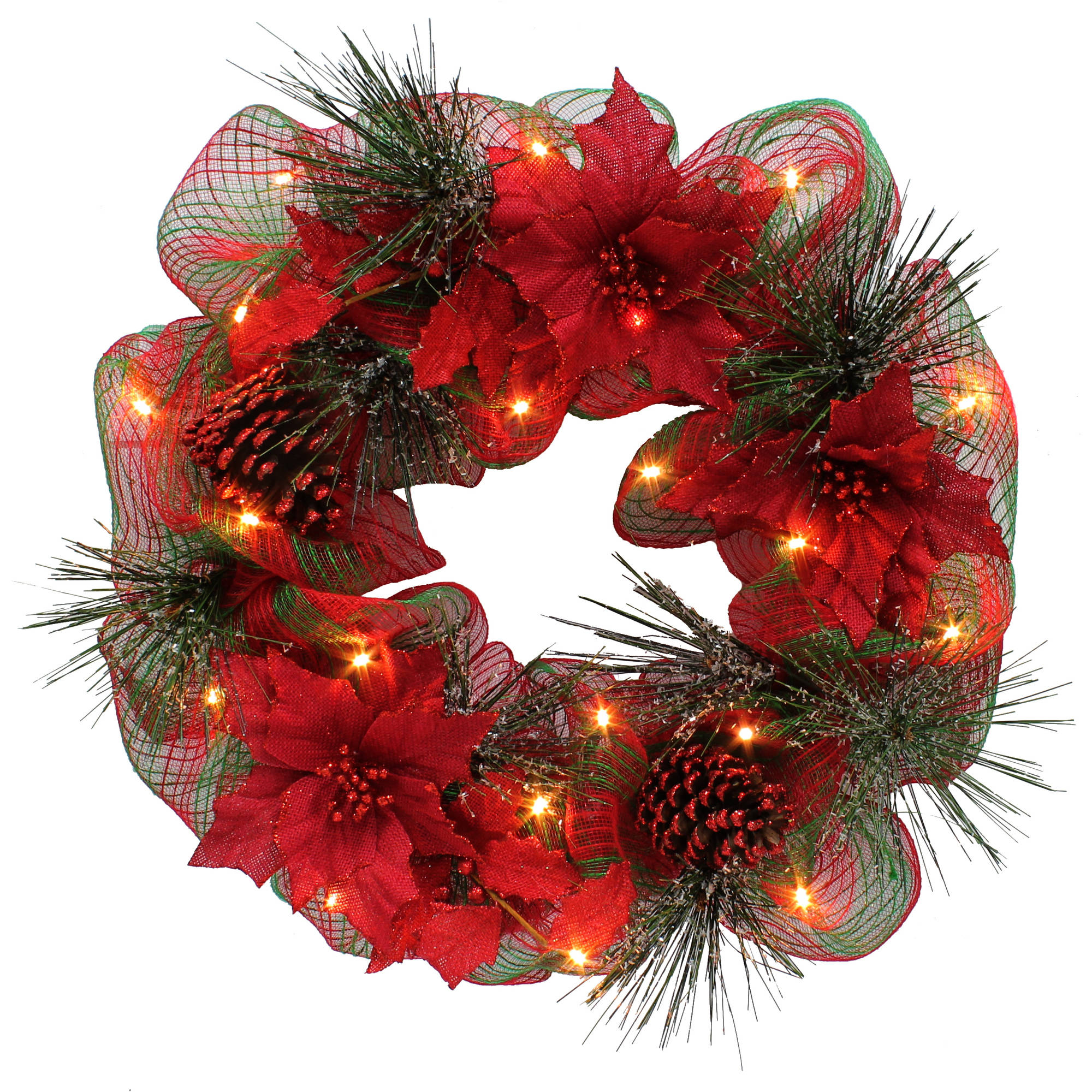 THE WINNER ELECTRONIC & TOY CO.,LTD Holiday Time Christmas Decor Red Poinsettia 26 Lighted Wreath