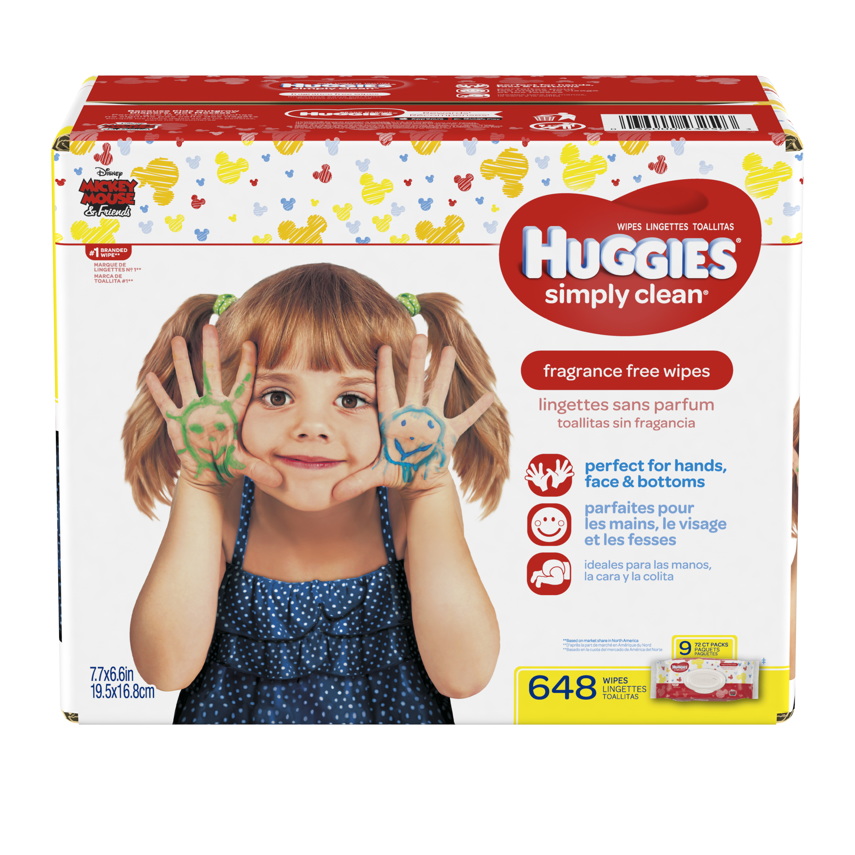 Huggies Simply Clean Baby Wipes, Fragrance Free, 9 packs of 72 (648 count) by HUGGIES