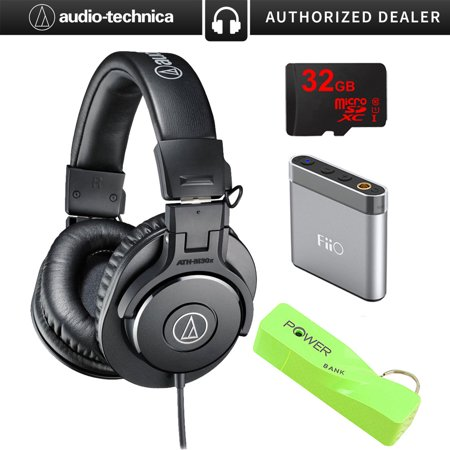 Audio-Technica ATH-M30x Professional Headphones Bundle Includes, BlackHat Tech 2600mAh Port Keychain Power Bank-Green,FiiO A1 Portable Headphone Amplifier & 32gb Micro Memory Card ()