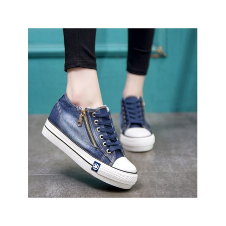 UKAP Women Classic Denim Walking Shoes Hidden Wedge Heel Loafers Sneakers Zipper Trainers