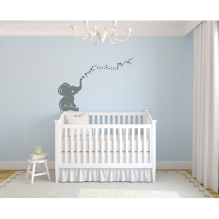 Elephant Bubbles Nursery Room Decor Removable Wall Decal Vinyl Sticker Art 16 Inches X 23 Inches ()