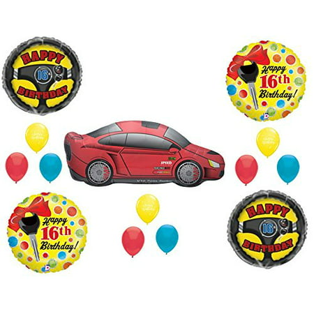 CAR 16TH Sixteen Birthday Party Balloons Decoration Supplies Race Keys Drive - Car Birthday Supplies