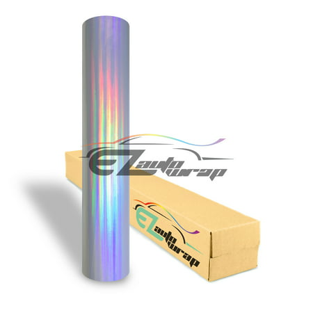 EZAUTOWRAP Holographic Silver Rainbow Neo Chrome Car Vinyl Wrap Vehicle Sticker Decal Film Sheet With Air Release