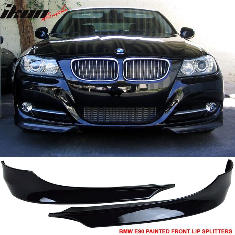 Fits 09-12 BMW E90 3-Series Front Bumper Lip Splitter 2PCS Painted Jet Black PP